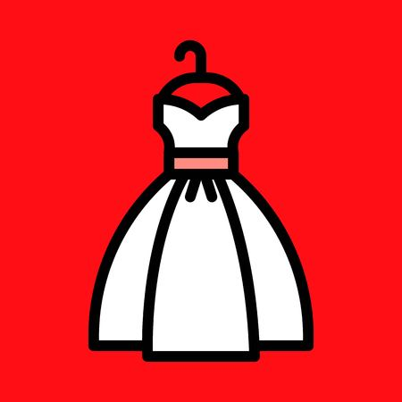 Wedding dress vector, wedding related fiiled designe ditable outline icon
