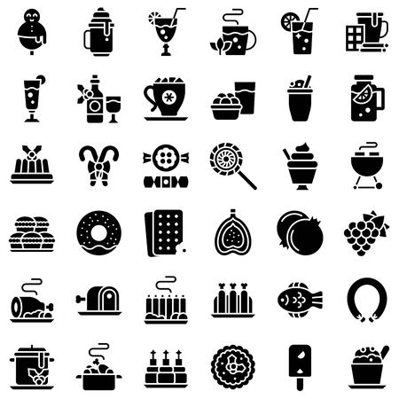Chirstmas menu vector icon set, solid design Çizim