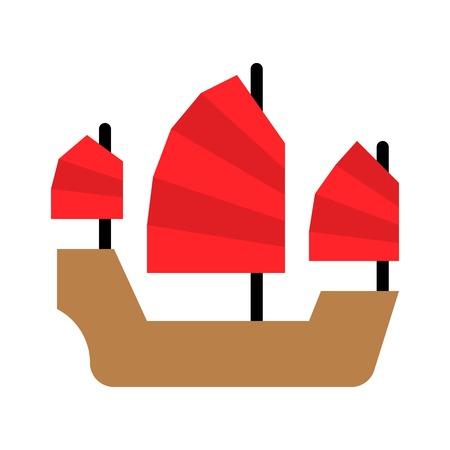 Sailboat vector illustration, Watercraft flat design icon Illustration