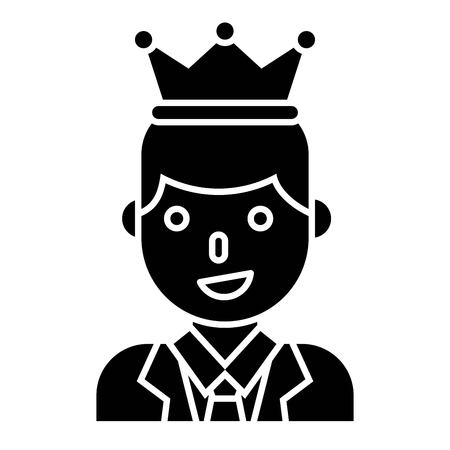 Businessman wearing a crown vector illustration, solid design icon