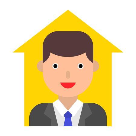 Businessman in up arrow vector, flat design icon