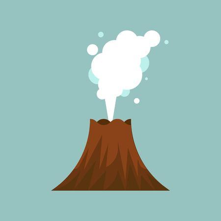 Volcano eruption vector illustration, flat desion icon
