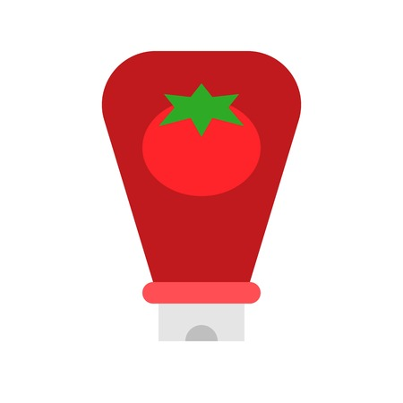 Ketchup vector, Barbecue related flat design icon