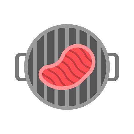 Grilled steak vector, Barbecue related flat design icon