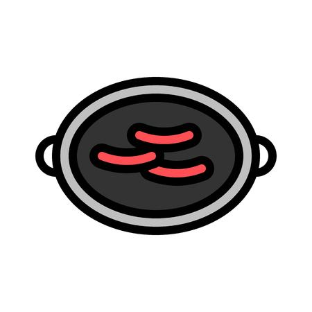 Grilled meat vector, Barbecue related filled design editable stroke icon