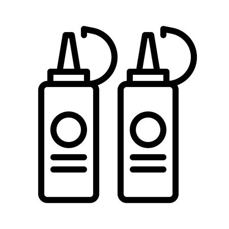 Sauce bottles vector, Barbecue related line design editable stroke icon