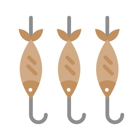 Fish skewers vector, Barbecue related flat design icon