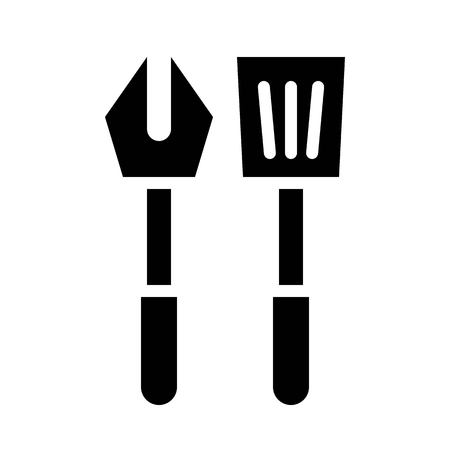 Fork and spatula vector, Barbecue related solid design icon