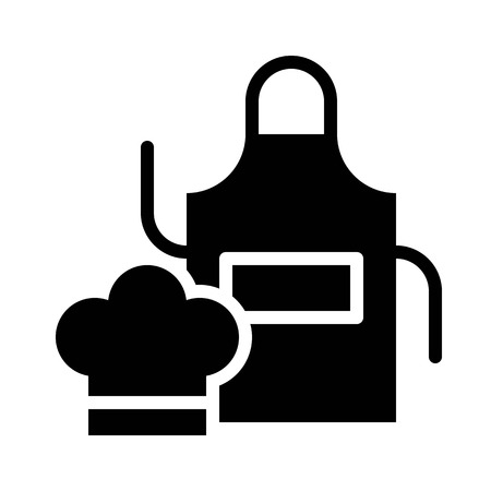 Chef hat and apron vector, Barbecue related solid design icon