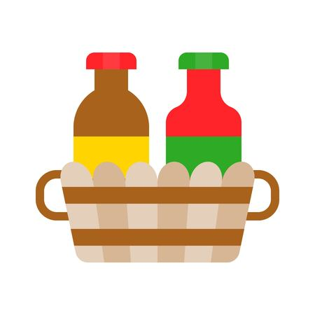 Condiment basket vector, Barbecue related flat design icon
