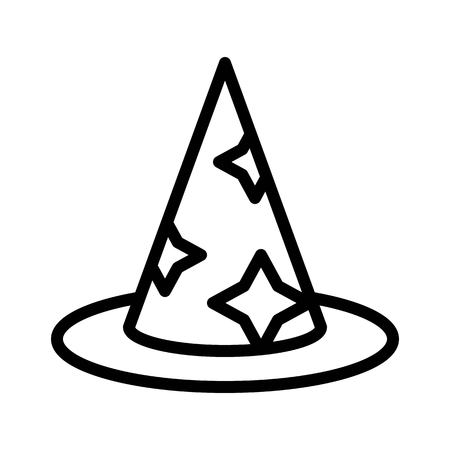 Witch hat vector, Magic related line design icon Çizim