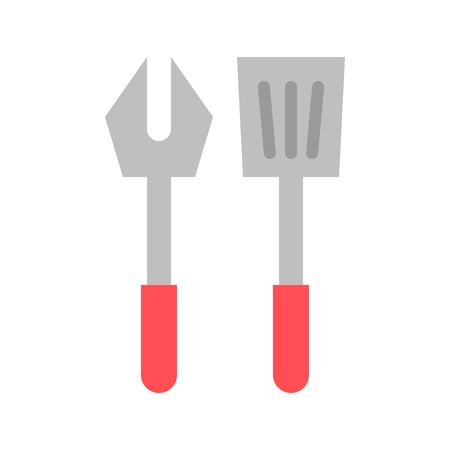 Fork and spatula vector, Barbecue related flat design icon Çizim