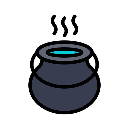 Witch cauldron vector, Magic related filled design editable stroke icon Çizim