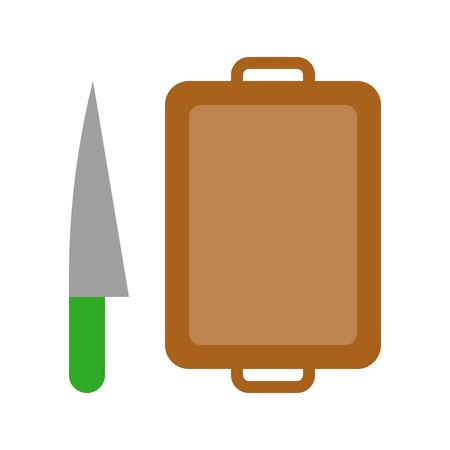 Knife and chopping board vector, Barbecue related flat design icon Çizim