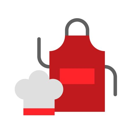 Chef hat and apron vector, Barbecue related flat design icon