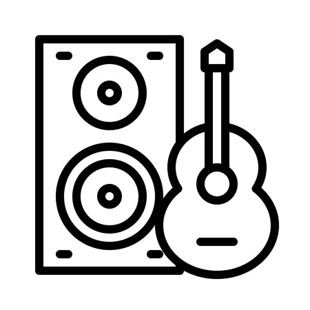 Loudspeaker and guitar vector, Barbecue related line design editable stroke icon