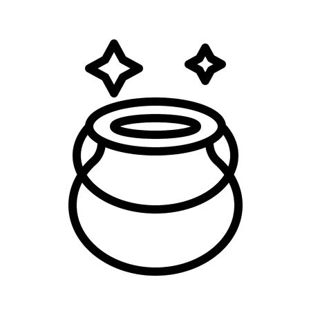Witch cauldron vector, Magic related line design icon