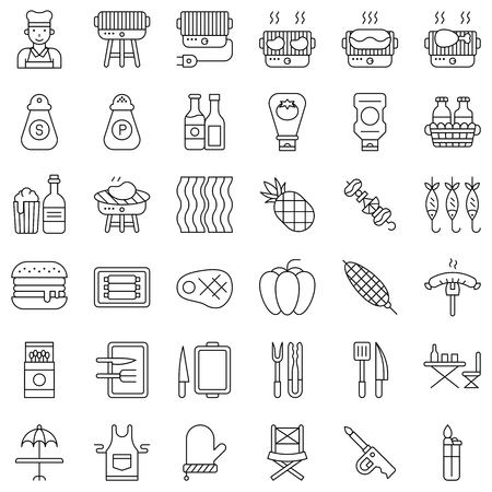Barbecue related vector icon set, line design editable stroke