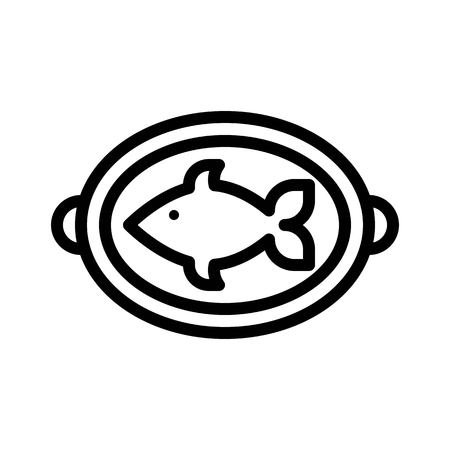 Grilled fish vector, Barbecue related line design editable stroke icon Çizim