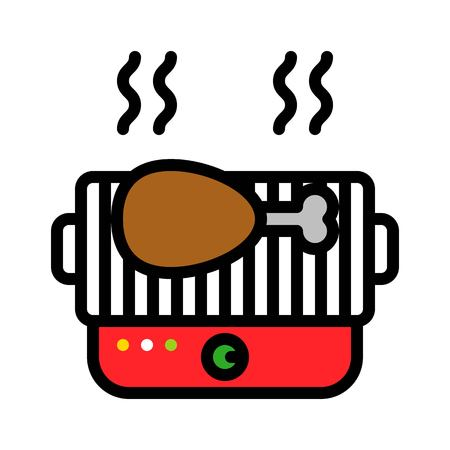 Barbecue grill vector, Barbecue related filled design editable stroke icon