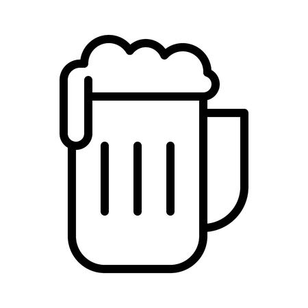 Beer mug vector, Barbecue related line design editable stroke icon