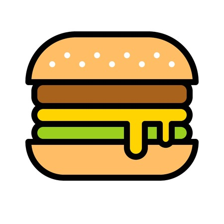 Hamburger vector, Barbecue related filled design editable stroke icon Çizim