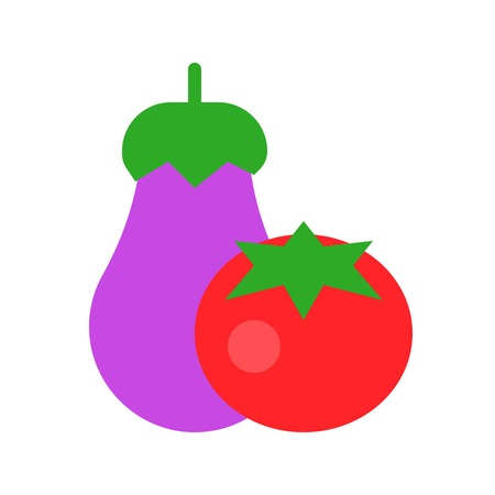 Eggplant and tomato vector, Barbecue related flat design icon