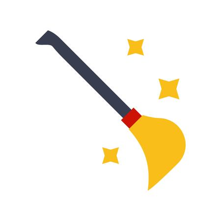 Witch broom vector, Magic related flat design icon