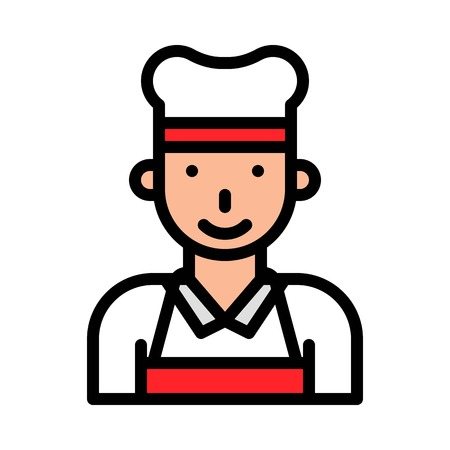 Chef vector, Barbecue related filled design editable stroke icon Çizim