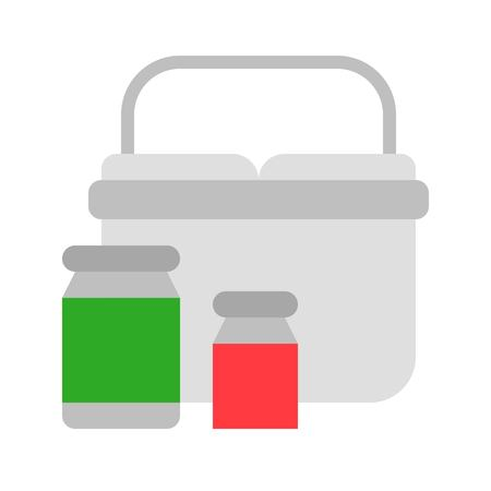 Cooler basket vector, Barbecue related flat design icon