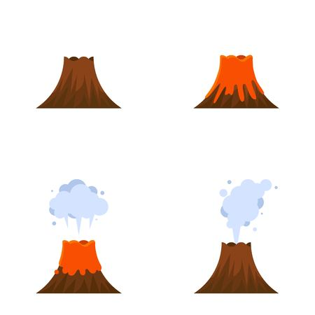 Volcano eruption vector icon set, isolated on white background