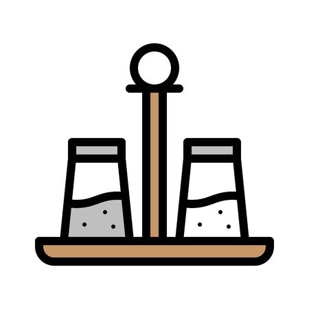 Salt and pepper vector, Barbecue related filled design editable stroke icon