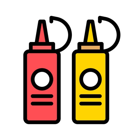 Sauce bottles vector, Barbecue related filled design editable stroke icon 向量圖像