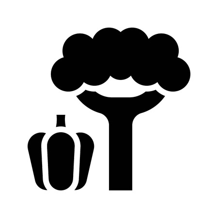 Bell pepper and broccoli vector, Barbecue related solid design icon