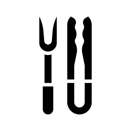 Tong and fork vector, Barbecue related solid design icon