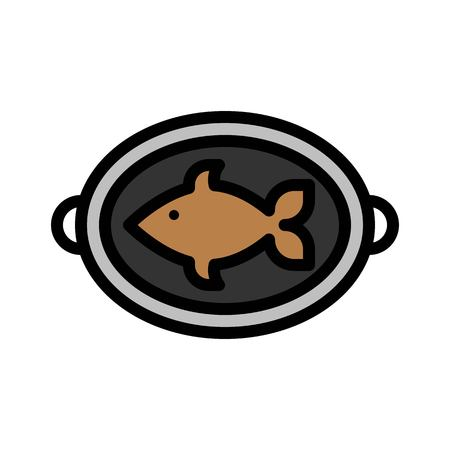 Grilled fish vector, Barbecue related filled design editable stroke icon Çizim