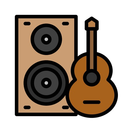 Loudspeaker and guitar vector, Barbecue related filled design editable stroke icon Çizim