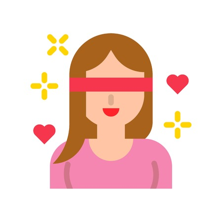 Love is blind vector, Valentine and love related flat style icon