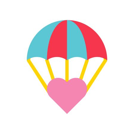 Heart at parachute vector, Valentine and love related flat style icon