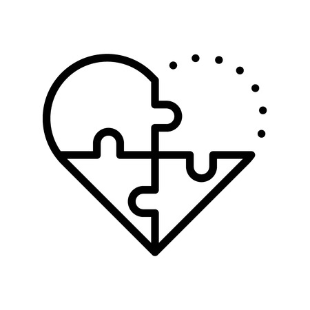 Puzzle heart vector, Valentine and love related line style icon Ilustrace