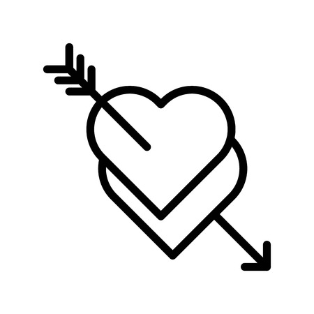 Hearts with arrow vector, Valentine and love related line style icon