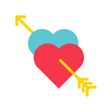 Hearts with arrow vector, Valentine and love related flat style icon