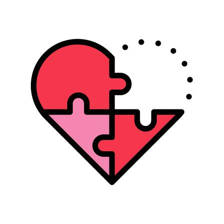 Puzzle heart vector, Valentine and love related filled outline style icon