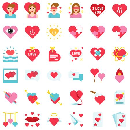 Valentine and love related vector icon set, flat design