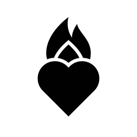 Burning heart vector, Valentine and love related solid style icon