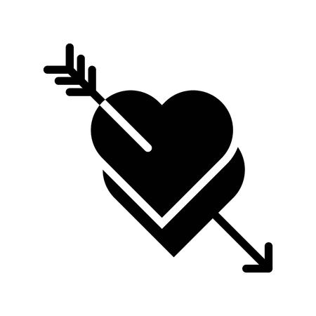 Hearts with arrow vector, Valentine and love related solid style icon