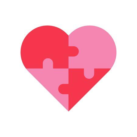 Puzzle cuore vettoriale, icona di stile piatto relativo a San Valentino e amore Vettoriali