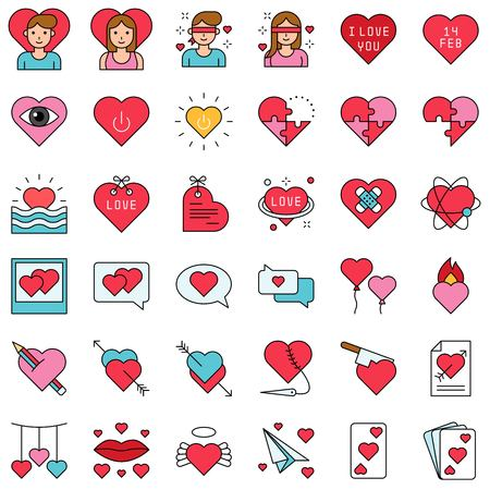 Valentine and love related filled outline style icon set