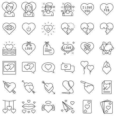 Valentine and love related vector icon set, line design