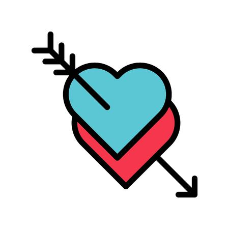 Hearts with arrow vector, Valentine and love related filled outline style icon Ilustração